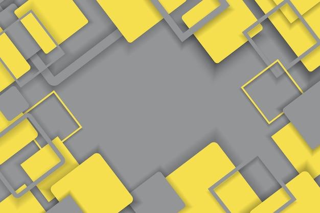 Kompozycja abstrakcyjna z kwadratu w kolorach szarym i żółtym, kompozycja mozaikowa