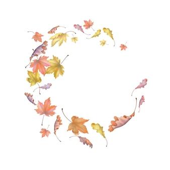 Kompozycja abstrakcyjna z latających liści jesienią. tło dekoracyjne upadku