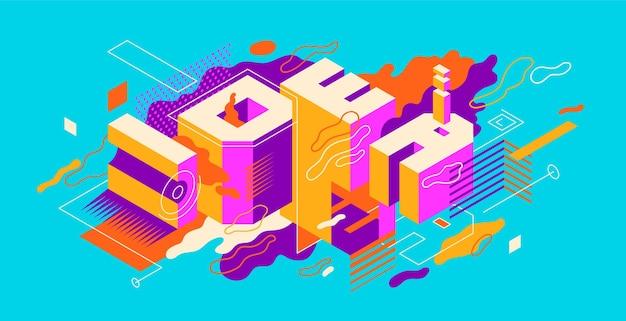 Kompozycja abstrakcyjna z typografią w stylu izometrycznym