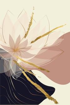 Kompozycja abstrakcyjnych kształtów elementów botanicznych złota tekstura styl minimalizmu ręcznie rysowane karty