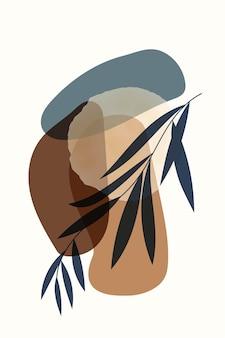 Kompozycja abstrakcyjnych kształtów i elementów botanicznych w stylu minimalizmu ręcznie rysowane plakat
