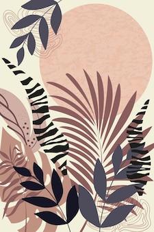 Kompozycja abstrakcyjnych kształtów i elementów botanicznych w stylu minimalizmu ręcznie rysowane tropical