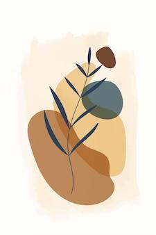 Kompozycja abstrakcyjnych kształtów i elementów botanicznych w stylu minimalizmu ręcznie rysowanego banera
