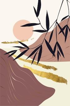 Kompozycja abstrakcyjnych kształtów i elementów botanicznych złota tekstura w stylu minimalizmu ręcznie rysowane
