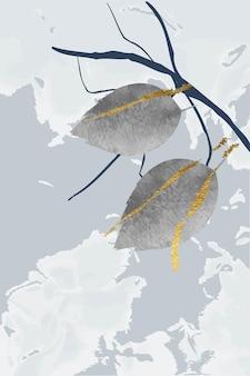 Kompozycja abstrakcyjnych kształtów i liści złote linie zimowe szare tło w stylu minimalizmu