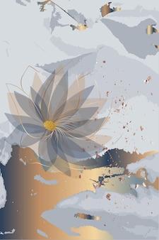 Kompozycja abstrakcyjnych kształtów kwiat złote linie zimowe szare tekstury tła minimalizm