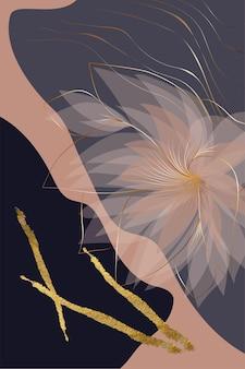 Kompozycja abstrakcyjnych kształtów złota tekstura elementy botaniczne styl minimalizmu ręcznie rysowane karty