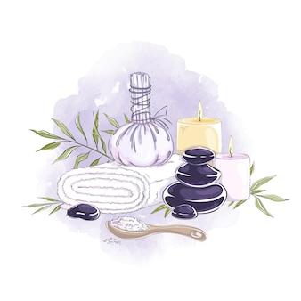 Kompozycja akcesoriów do masażu aromatycznego i zabiegów spa.