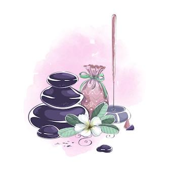 Kompozycja akcesoriów i przedmiotów do masażu aromatycznego, spa i aromaterapii.