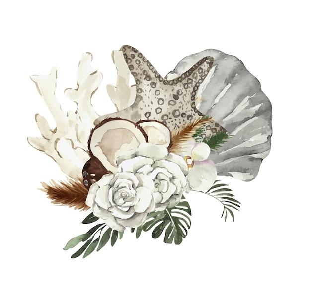Kompozycja akwarelowa z muszelkami i kwiatami