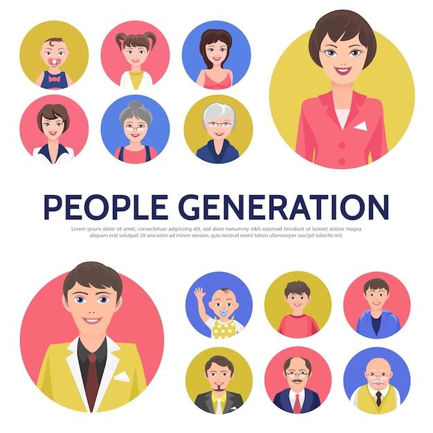 Kompozycja awatarów pokolenia płaskich ludzi