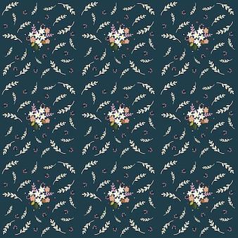 Kompozycja bez szwu kwiatowy wzór małe kwiaty polne gałązki jagody pozostawia na kolor granatowy