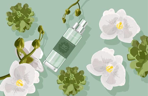 Kompozycja bio kosmetyków z białymi kwiatami orchidei i zielonymi liśćmi, kaktus. butelka perfum