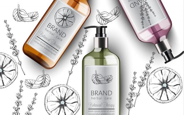 Kompozycja butelek organicznego szamponu z ziołową pielęgnacją. różne rośliny i kolory. mięta, pomarańcza i lawenda. miejsce na tekst