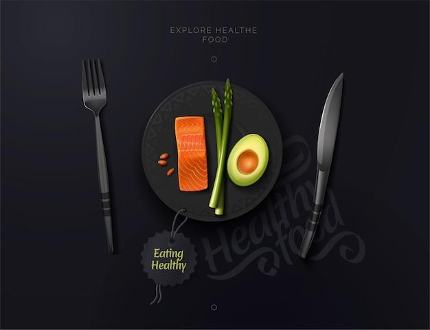 Kompozycja cafe restaurant makiety talerzy widelca i noża smaczne i zdrowe jedzenie na talerzu orzechy szparagowe z łososia awokado ilustracja wektorowa widoku z góry