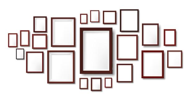 Kompozycja ciemnych drewnianych ramek. ramka na zdjęcia wisząca na ścianie, siatce zdjęć i obramowaniu drewna szablon ilustracji.