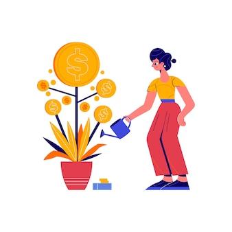 Kompozycja crowdfundingowa z doodle postaci kobiety podlewającej drzewo pieniędzy z ilustracją monet