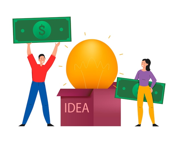 Kompozycja crowdfundingowa z płaską ilustracją lampy w pudełku pomysłów i ludźmi z banknotami