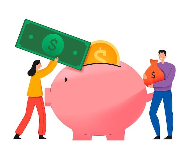 Kompozycja crowdfundingowa z płaską ilustracją świnki i ludzi wkładających do niej gotówkę