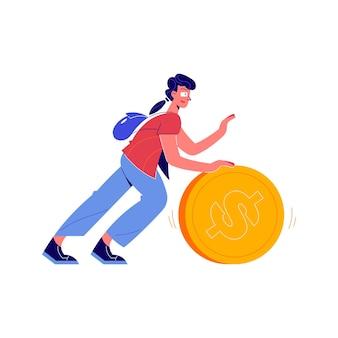 Kompozycja crowdfundingowa z postacią doodle popychającą ilustrację dużej monety dolarowej