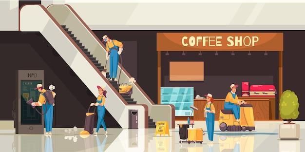 Kompozycja czyszcząca z profesjonalnym zespołem sprzątaczy wykonujących pracę w centrum handlowym z wyświetlaczami kawiarni