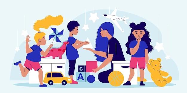 Kompozycja dla dzieci w wieku przedszkolnym z kobiecą postacią niani bawiącą się z grupą dzieci otoczonych ilustracją zabawek