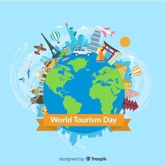 Kompozycja dnia nowoczesny świat turystyki z płaska konstrukcja