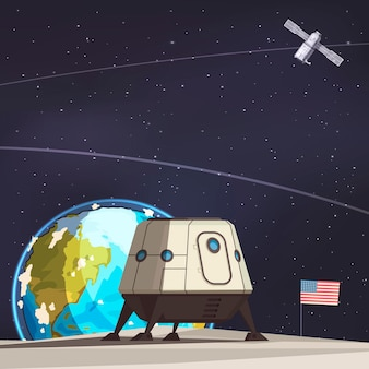 Kompozycja do eksploracji kosmosu z łazikiem księżycowym i lataniem sztucznym satelitą ziemi