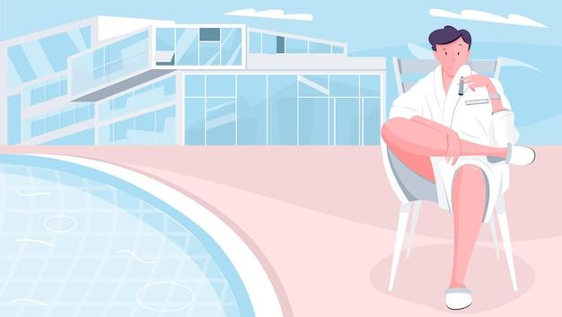 Kompozycja domu milionera z płaskim doodle postaci siedzącego mężczyzny w szlafroku z nowoczesnym budynkiem