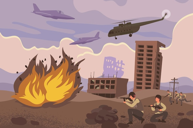 Kompozycja działań wojskowych z atakiem wojskowym lub ofensywnymi eksplozjami i śmigłowcami