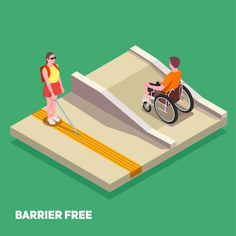Kompozycja edukacji włączającej z chłopcem na wózku inwalidzkim i dziewczyną z białą laską 3d izometryczny