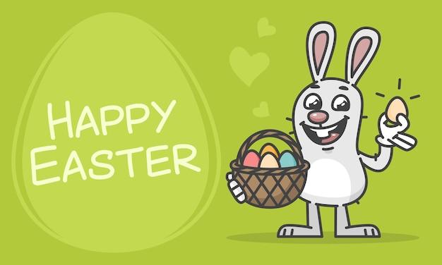 Kompozycja happy easter bunny trzymając kosz i jajko. ilustracja wektorowa. postać maskotki.