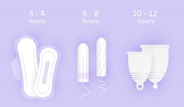 Kompozycja higieny kobiecej. czas noszenia produktów higienicznych. wybór między kubkiem menstruacyjnym, tamponem i wkładkami.