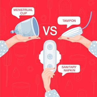 Kompozycja higieny kobiecej. wybór między tamponami, podpaską higieniczną i kubkiem menstruacyjnym.