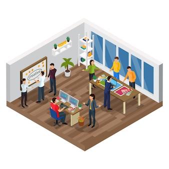 Kompozycja izometryczna agencji reklamowej z procesem kreatywnego planowania zespołu projektant komputerowy wnętrza biura