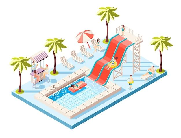 Kompozycja izometryczna aquaparku z przejażdżkami wodnymi i ilustracją basenu