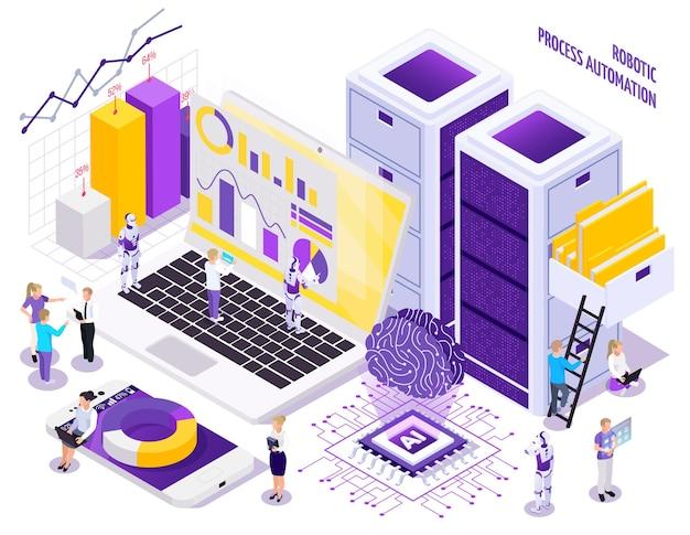 Kompozycja izometryczna automatyzacji procesów zrobotyzowanych z małymi ludzkimi postaciami i ilustracją istotnych elementów przestrzeni roboczej biura