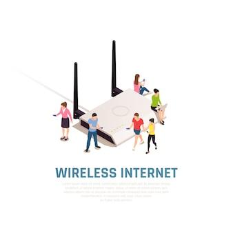 Kompozycja izometryczna bezprzewodowego internetu z małymi ludźmi wokół dużego routera łączącego się ze smartfonami