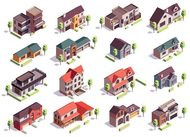 Kompozycja izometryczna budynków na przedmieściach z szesnastoma odizolowanymi obrazami nowoczesnych domów mieszkalnych z garażami i drzewami