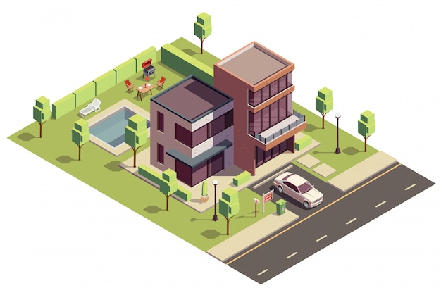 Kompozycja izometryczna budynków na przedmieściach z widokiem na prywatny budynek mieszkalny z samochodem i basenem na podwórku