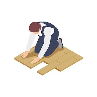 Kompozycja izometryczna budynku modułowego z ludzkim charakterem pracownika wykonującego układanie płytek