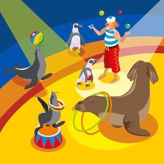 Kompozycja izometryczna cyrku morskiego z żonglującym klaunem i zwierzętami wykonującymi spektakl na arenie