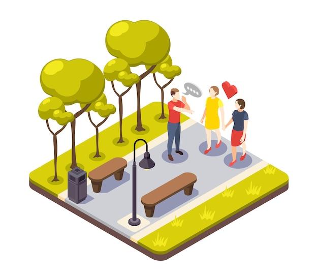 Kompozycja izometryczna dyskryminacji z widokiem na park miejski na zewnątrz i męskim charakterem krzyczącym do ilustracji kochanków