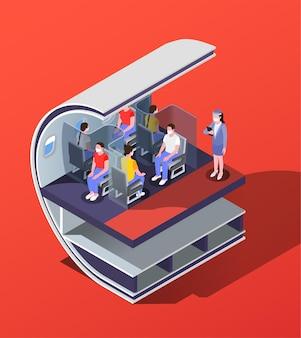Kompozycja izometryczna dystansu społecznego z widokiem profilu kabiny samolotu z ludźmi na siedzeniach z ilustracjami barier
