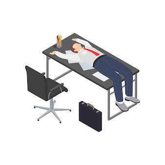 Kompozycja izometryczna frustracji zawodowej wypalenia zawodowego z ludzkim charakterem pracownika leżącego na stole roboczym
