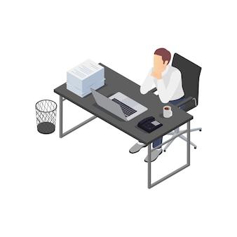 Kompozycja izometryczna frustracji zawodowej wypalenia zawodowego z widokiem na miejsce pracy z przygnębionym pracownikiem