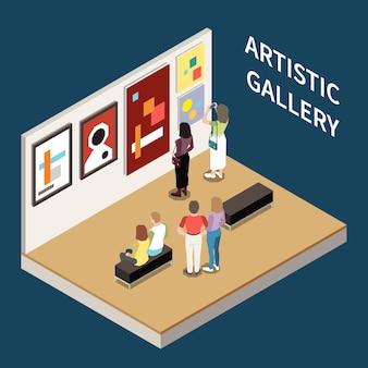Kompozycja izometryczna galerii artystycznej z ludźmi szukającymi zdjęć współczesnych artystów ilustracji