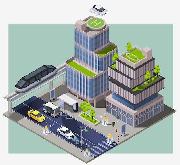 Kompozycja izometryczna inteligentnych technologii miejskich z obrazem bloku miejskiego z odległymi budynkami pojazdów i ilustracją ludzi