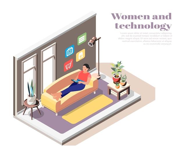 Kompozycja izometryczna kobiet i technologii z nowoczesną młodą kobietą leżącą na kanapie z tabletem w rękach i korzystającą z internetu