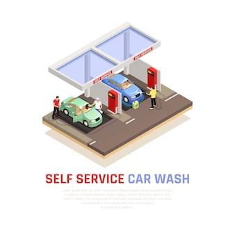 Kompozycja izometryczna myjni samochodowej z symbolami mycia samoobsługowego